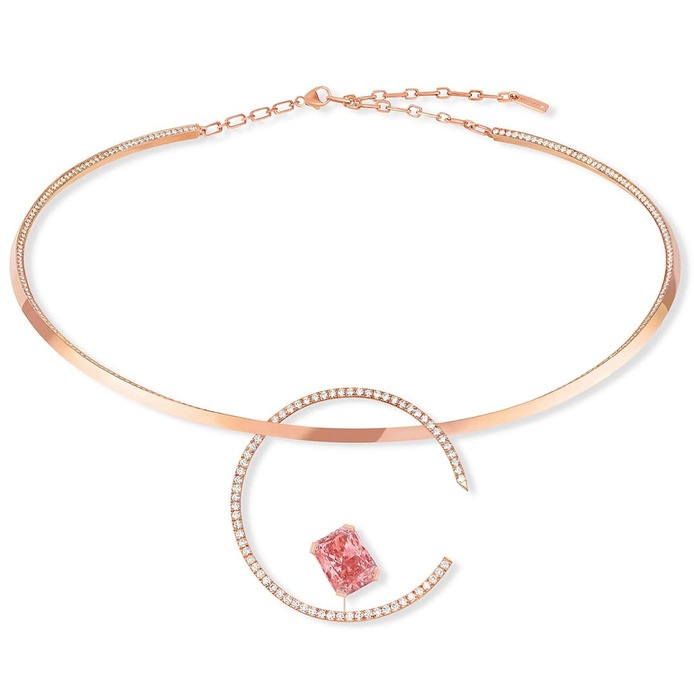 Pink Temptation necklace with 5.36ct radiant cut fancy pink diamond and colourless diamonds in rose gold