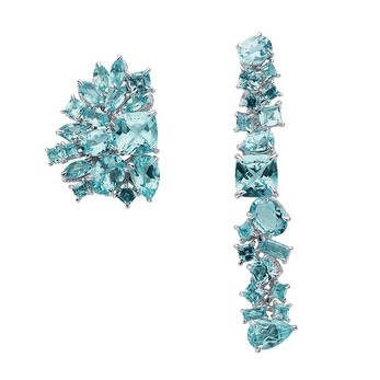 Gem Dior asymmetrical earrings with aquamarine in white gold