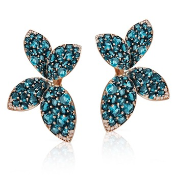 Giardini Segreti collection earrings with topaz and diamonds in rose gold