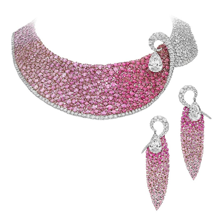 Les Merveilles parure set with rubies, pink sapphires and diamonds in 18 carat white gold