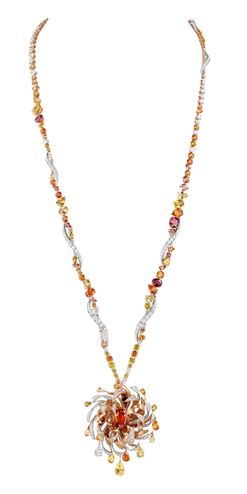 Soleil de Feu high jewellery necklace with Madagascan yellow sapphires, Ceylon Padparadscha sapphires, diamonds, yellow sapphires, spinels, Mandarin garnets and orange sapphires