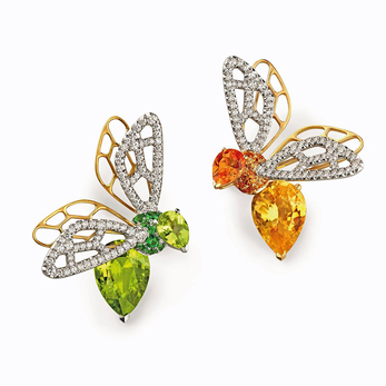 Abeille orange sapphire and peridot earrings