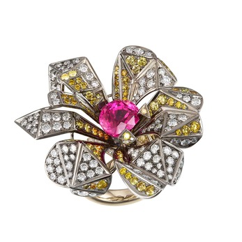 Pink sapphire, yellow sapphire and diamond ring