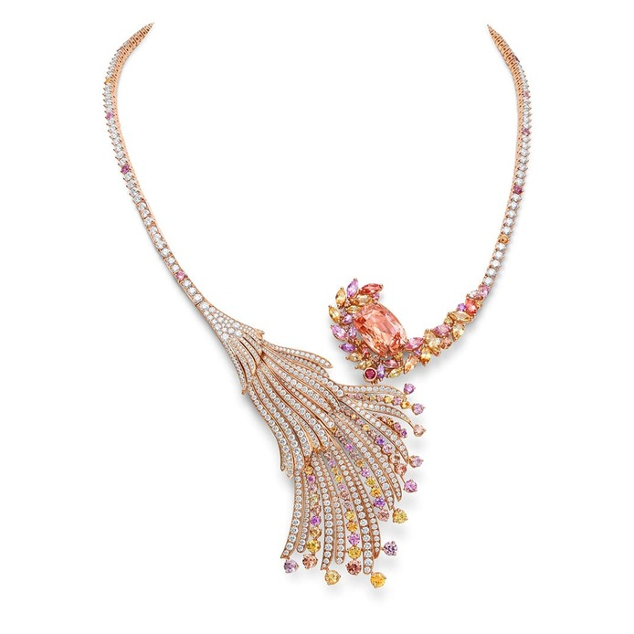 Blushing Wing necklace, set with a 12.10 carat Sri Lankan Padparadscha sapphire, yellow and purple sapphires, diamonds and rubies in red gold
