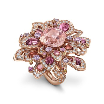 Rising Lotus ring, set with a 14.25 carat Padparadscha Sri Lankan sapphire, Fancy colour sapphires and diamonds in red gold