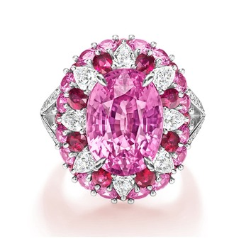 Pink sapphire ring with rubies and diamonds
