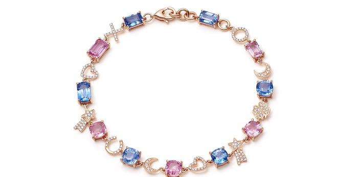 Love and Luck sapphire and diamond bracelet in 14 carat rose gold