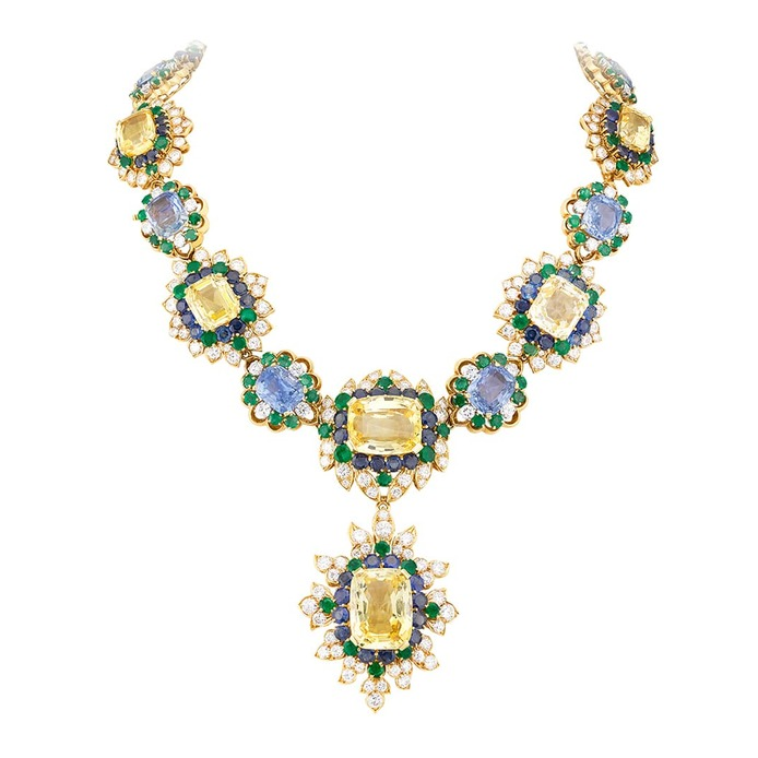 Vintage yellow and blue sapphire high jewellery necklace with emeralds and diamonds