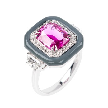 Oui collection pink sapphire ring in grey enamel with diamonds
