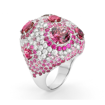 Haute Couture ring in 18 carat white gold with pink sapphires, tourmalines and diamonds