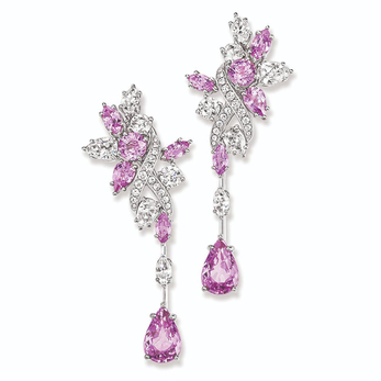 Secret Cluster pink sapphire and diamond earrings