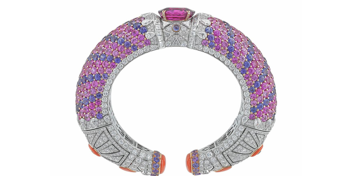 Protection Federique bracelet, set with an oval-cut Sri Lankan pink sapphire, pink and violet sapphires, coral and diamonds