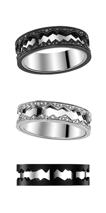 Capture in Motion rings with black and white diamonds set in black titanium and white gold