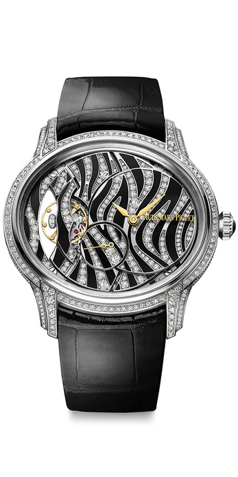 Millenary Zebra watch, set with onyx and diamonds in 18 carat white gold