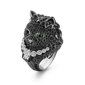Wladimir ring set with black sapphires, tsavorites and diamonds in white gold, from the Paris Vu de 26 high jewellery collection