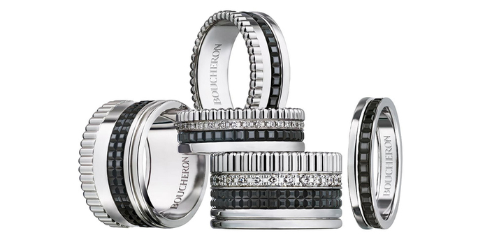 Quatre Black Edition pavé diamond bands in white gold and black PVD