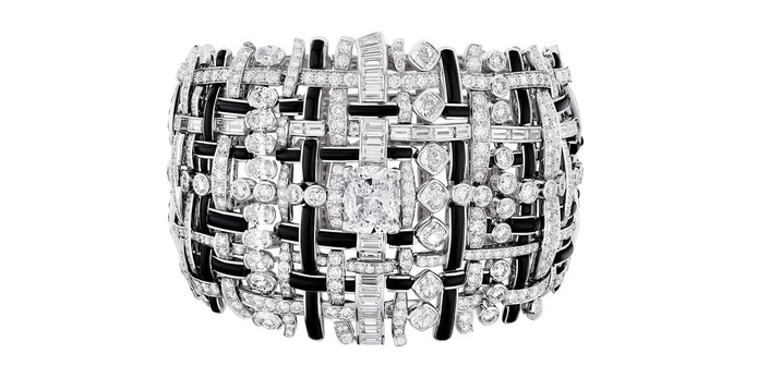 Tweed de Chanel Graphique onyx and diamond bracelet in white gold