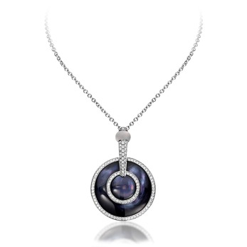 Luna black mother-of-pearl pendant necklace with diamonds