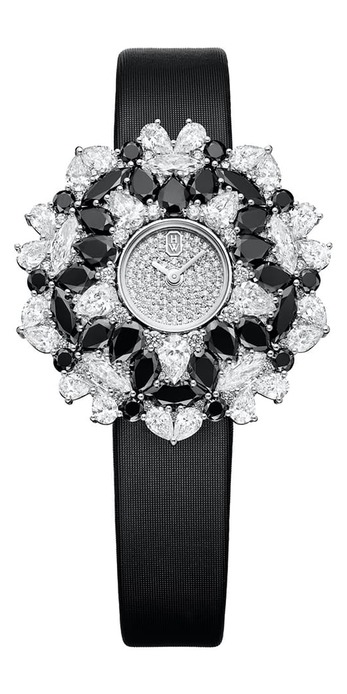 Kaleidoscope high jewellery watch, set with black and white diamonds