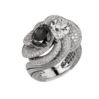 Résonances de Cartier Clair Obscur ring, set with a pear shape black diamond contrasted with colourless diamonds