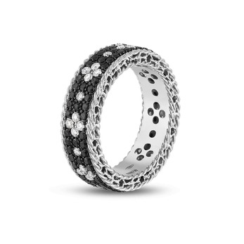 Roberto Coin Fleur de Lis ring in white gold with black and white diamonds