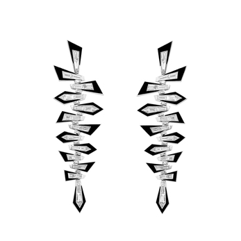 Dynamite Shattered earrings in 18 carat white gold, with tapered baguette-cut and trilliant-cut white diamonds, and black enamel