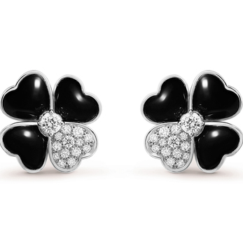 Diamond and onyx Cosmos earrings in white gold