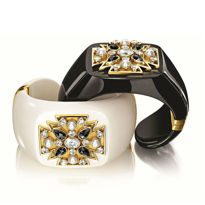 Maltese black jade and mammoth ivory cuffs, set with black and white diamonds