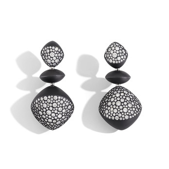 Trottola earrings in black titanium and diamonds