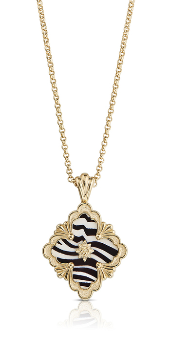 Black and white enamel Opera pendant in yellow gold