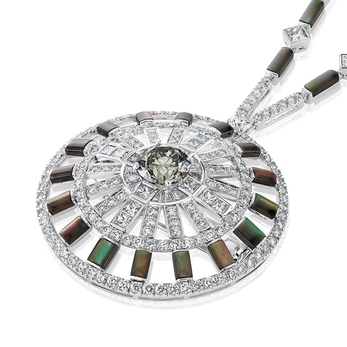 Chapman's Zebra diamond and grey mother-of-pearl medallion necklace