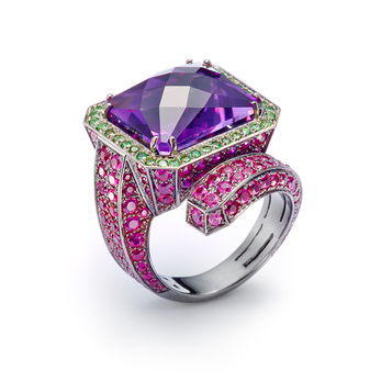 Mattioli ring with a fancy cut amethyst, pink sapphires and tsavorites