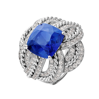Chanel Azurean Braid ring from Flying Cloud collection in 18K white gold set with a cushion-cut blue sapphire of 11.49carats and 112 brilliant-cut diamonds