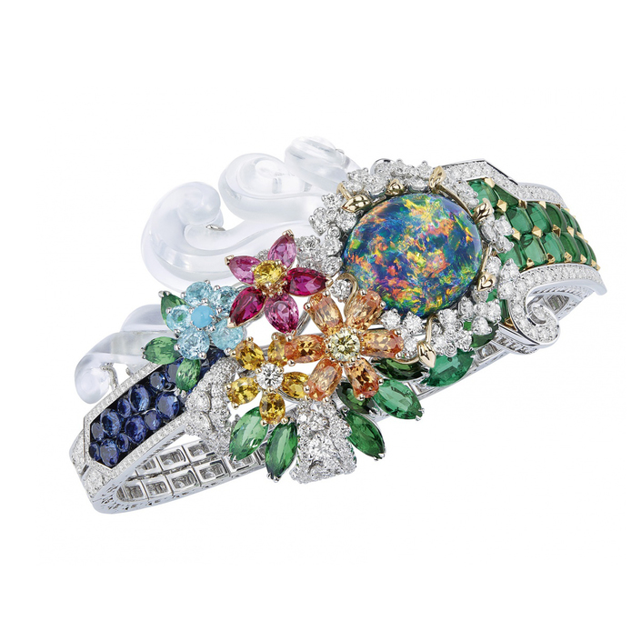 Dior à Versailles, Côté Jardins collection bracelet with an oval opal, multi-coloured sapphires, emeralds and diamonds