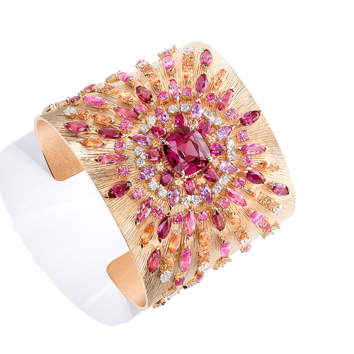 Piaget Viva L'Arte cuff bracelet from Sunlight Journey collection with 6.68cts cushion cut spinel, sapphires and spessartine garnets set in pink gold
