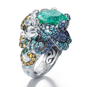 Giampiero Bodino Tesori del Mare ring from the Mediterranea collection topped with a 11.42cts Paraíba tourmaline