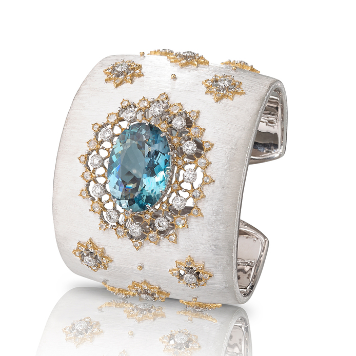 Buccellati Oasi cuff bracelet with an oval aquamarine and approximately 160 diamonds
