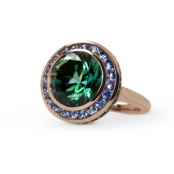 Ming Lampson Flower Bud ring with 8.64 carat green Afghani tourmaline and blue sapphires set in rose gold