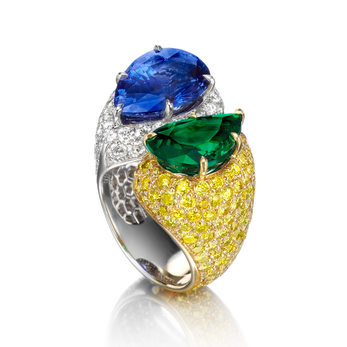 House of Tabbah emerald and sapphire ring with colourless and yellow diamonds