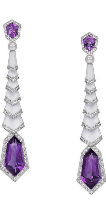 AVAKIAN Gatsby collection earrings with amethysts, enamel, pearls and diamonds