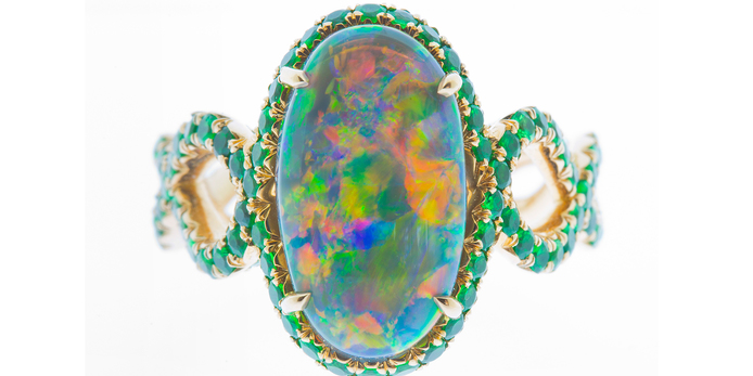 Antonio Seijo Оne-of-a-kind cocktail ring with 2.95cts black opal and 141 tsavorites