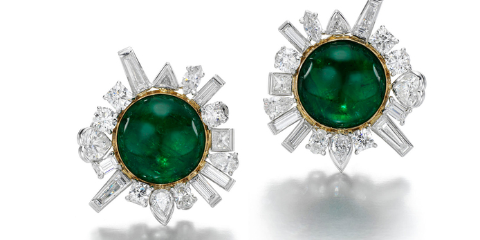 Jessica McCormack Flotsam & Jetsam Earrings from the Perfect Storm collection set with a central cabochon emerald and 3.65 carats of heart, marquise and baguette cut diamonds