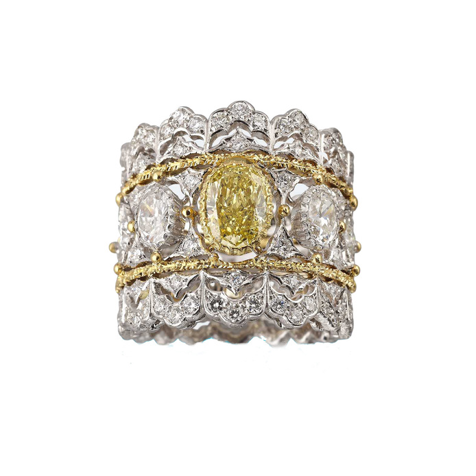 Buccellati Band ring, with yellow diamonds, colourless diamonds, 18k white gold and 18k yellow gold