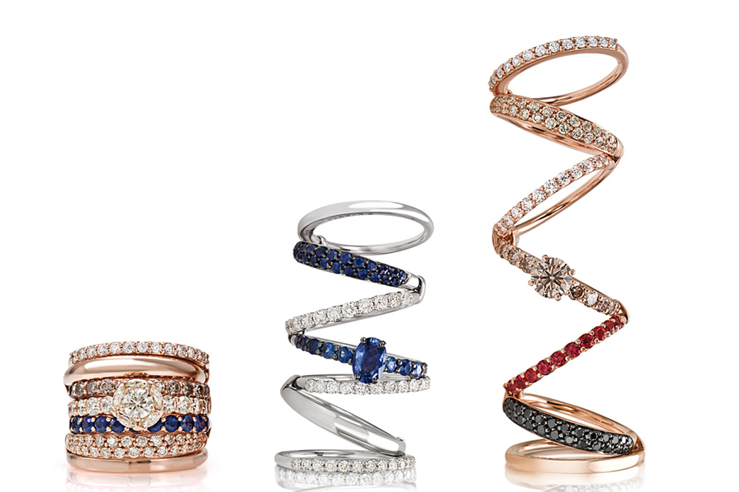 Giovanni Ferraris 'Divina' rings with diamonds, sapphires and rubies in 18k white gold and rose gold