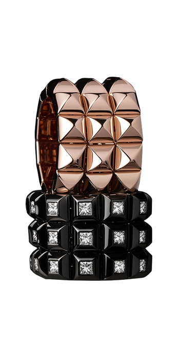 Baenteli 'Pyramides' rings in rose gold, and with diamonds