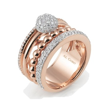 Al coro 'Palladio' ring with diamonds in rose gold