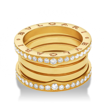 Bulgari 'B.zero 1' ring with pavé diamonds in 18k yellow gold