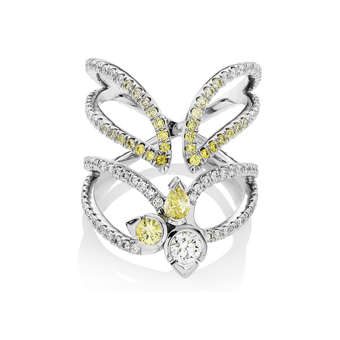 Raleigh Goss 'Astraeus' ring with fancy yellow and colourless diamonds in 18k white gold