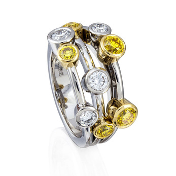 Boodles Raindance ring with yellow and colourless diamonds, in 18k white and yellow gold