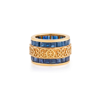 Henry Dakak 'She's a Lady' Ring, with sapphires in 18k gold